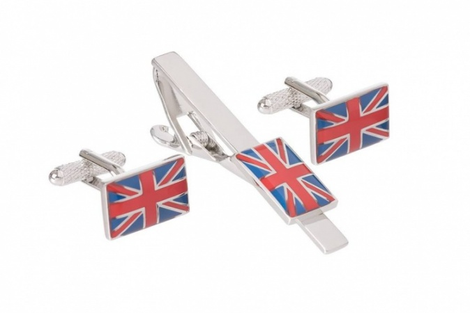 Union Jack Flag Cufflinks and Tie Clip Set